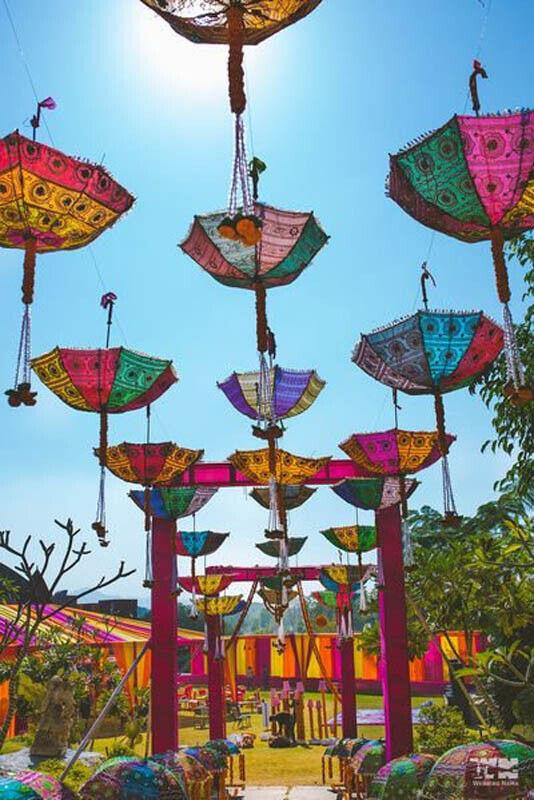 Wholesale 5-Pc Indian Parasol Wedding Garden-Decor Sun Shade Cotton Umbrellas