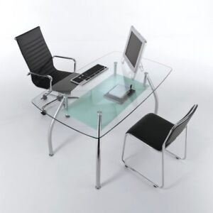 Tavolo scrivania da ufficio bertram design moderno in vetro e acciaio 145 cm ebay - Scrivania vetro ikea ...