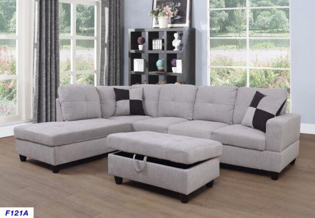 Admirable 4 Pc Sectional Sofa With Ottoman Ufe Marseilles Plushy Chenille Dark Brown For Sale Online Ebay Machost Co Dining Chair Design Ideas Machostcouk