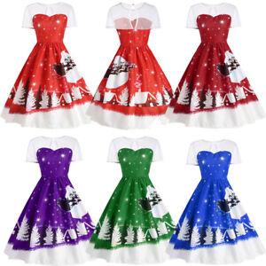 WomenS Christmas Party Vintage Dress Santa Claus Deer Print Retro