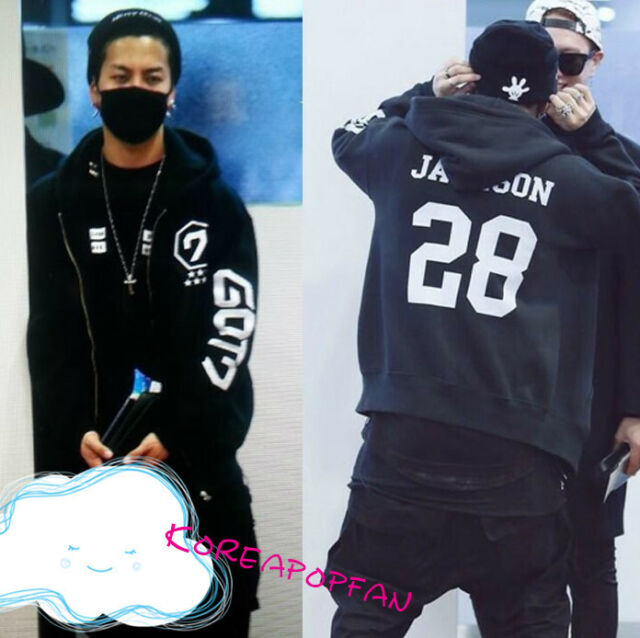 Got7 JACKSON Black THICK Hoodie sweater unisex kpop New