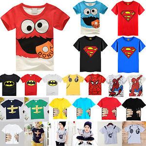da-bambini-Superman-Batman-Costume-supereroe-T-SHIRT-CASUAL-MAGLIA-1-8-ANNI