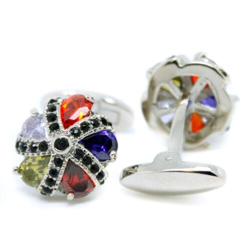 Multi-Coloured Cufflinks Crystal Round Wedding Mens Pair Formal Cuff Links