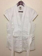 Women's ANNE KLEIN White Pintuck Stretch Button Down Blouse Tie V-neck  Size 12