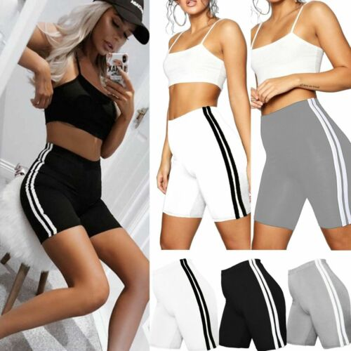 Womens Cotton Double Side Stripe Shorts Ladies Active Gym Sports Cycling Pant UK