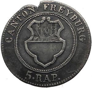 1830 Swiss Canton of Freiburg Billon Silver Antique Coin Cross Shield i59484