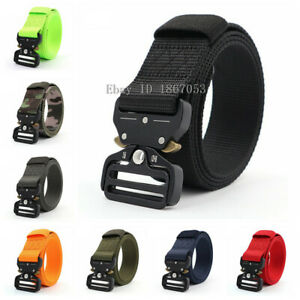 Men-Quick-Release-Buckle-Military-Trouser-Belt-Army-Tactical-Nylon-Webbing-strap