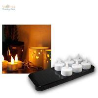 6er Set LED Teelichter mit Solar Ladestation, Teelicht elektrisch, Kerze Kerzen