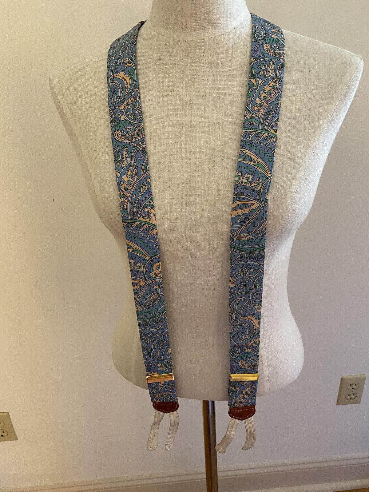 Tregalgar Suspenders blue paisley print cream lavender leather EUC
