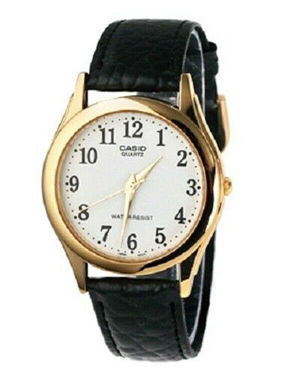 Casio Men's Quartz Stainless Steel/Black Leather Watch MTP1093Q-7B2   Ebay