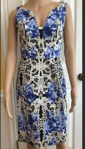 Elie Tahari Womens Dress Size 4 Floral & Lace Printed Pattern Blue White