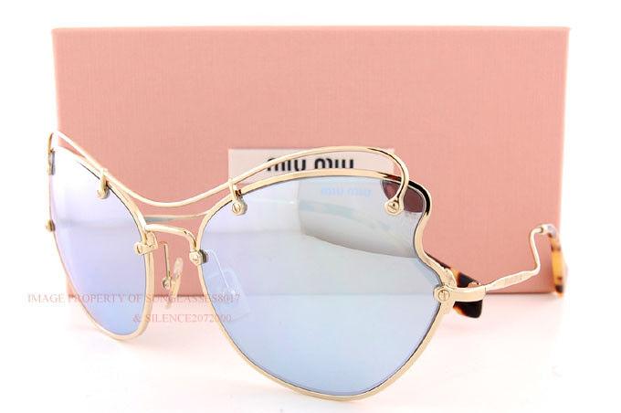 bb88e9b1aa014 MIU MIU Sunglasses SMU 56r Zvn-5q0 Pale Gold   Mirror Blue 61 Mm ...