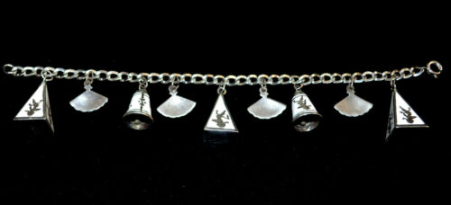50's 60's sterling Siam bell and fan bracelet with