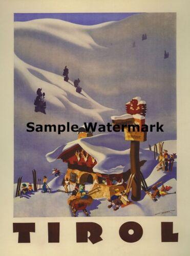 Tirol Austria Resorts Arlberg Ski Winter Sport Mountain Poster Repro FREE S//H