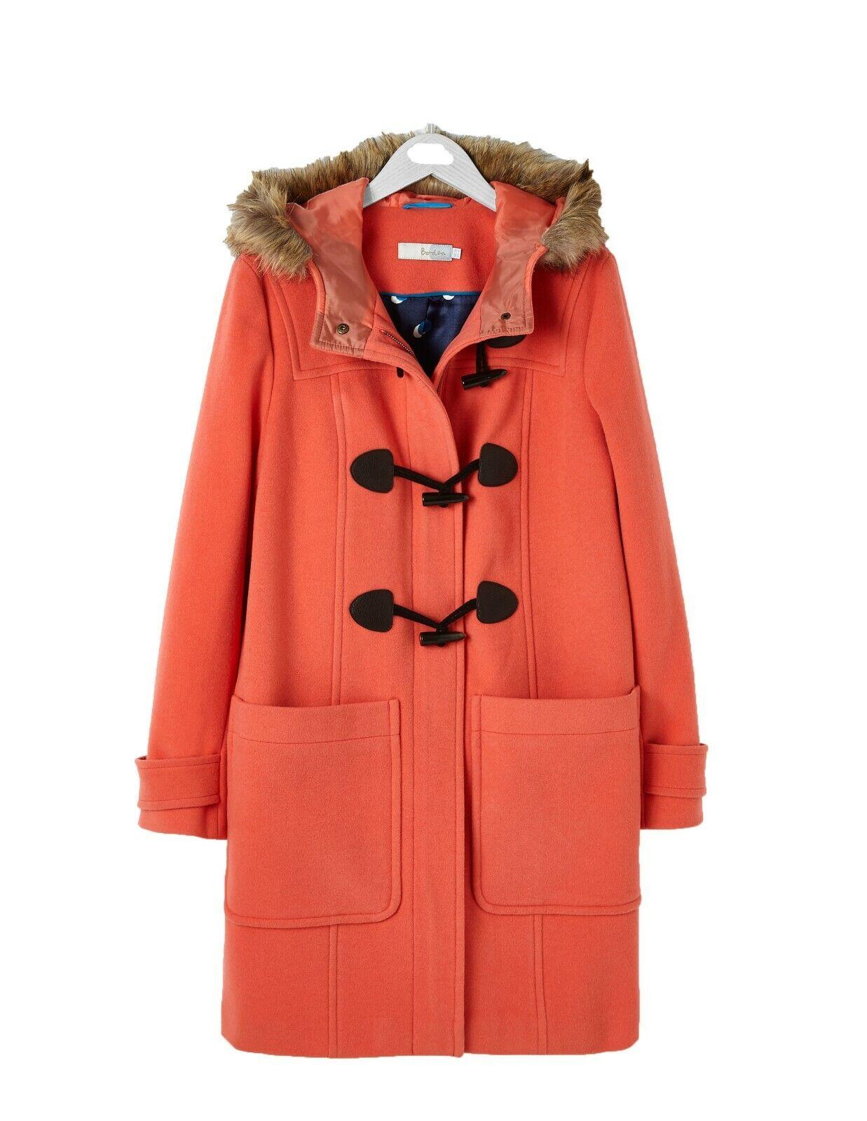 Ex Boden Orange Wool Duffle Coat Größe 16
