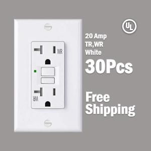 30 Pcs-20 Amp GFCI Blanc Récipient Outlet-Tr /& WR auto-Test 2015 Underwriters Laboratories