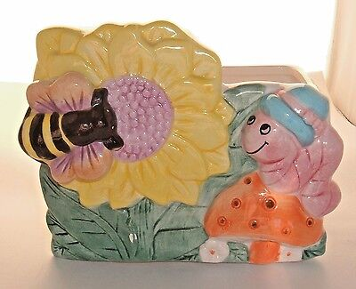 VTG It's A Small World flower Planter display Music Box BABY decor LUV IMPORTS