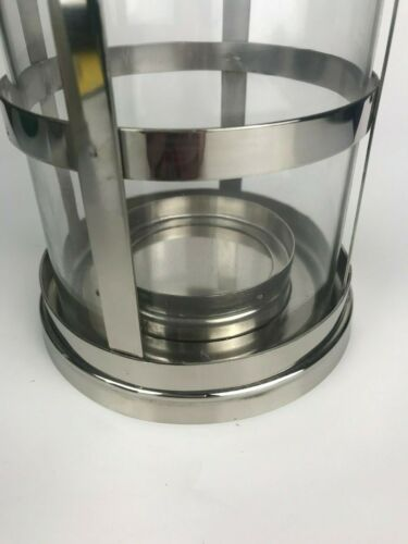 """Roth Glass Candle Lantern Silver Metal Home Garden Decor NWT 11.75/"""" Allen"""