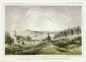 """1860 USPRR """"Hot Springs at Source of Lou Lou Fork, Bitter Root Mtns..."""" Montana"""