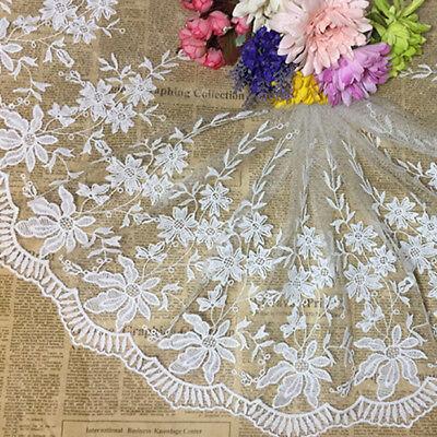Peacock Lace Trim Bridal Dress Embroidered Trim Wedding DIY Floral Sewing Edging