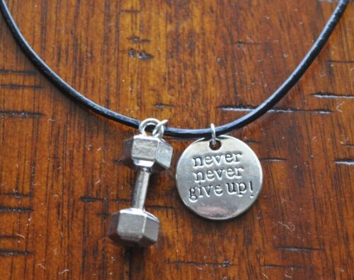Never Give Up /& Dumbbell Pendant Charm Gym Bodybuilding Muscle Workout Necklace