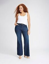 LANE BRYANT 22 Mid Rise Flare Trouser Patch Pocket Jeans 22W Dark Wash Whiskers