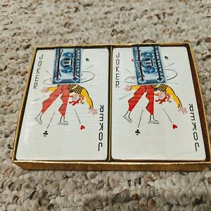 Vintage-2-Deck-Set-of-Playing-Cards-New-in-Cellophane-w-IRS-Tax-Stamps