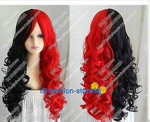 Image Is Loading Hot Beautiful Harley Quinn Wig Black And Red