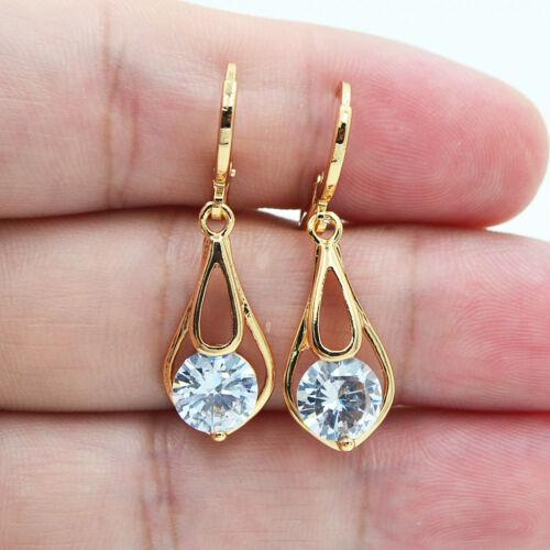 18K or jaune rempli Fashion Blanc Rond Zircon Topaz Lady Dangle Earrings