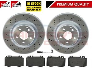 FOR-MERCEDES-S-CLASS-320-W220-320-CDI-FRONT-MEYLE-DRILLED-BRAKE-DISCS-BRAKE-PADS