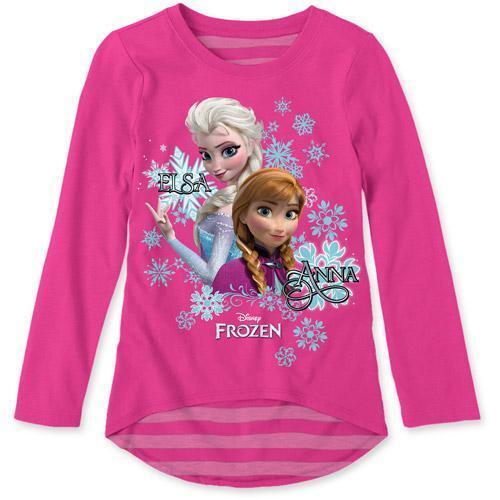 Disney Frozen ELSA ANNA Long Sleeve Hi-Low Tee T-Shirt Top for Girls PINK-New