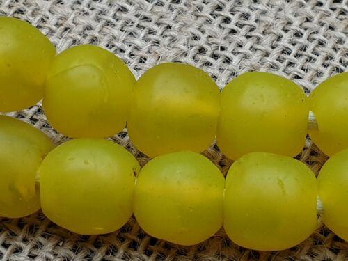 Krobo Ghana recycled Altglas Pulver Mittelalter Grubenbrand Glasperlen gelb 13mm