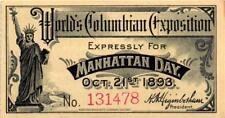 1893 World's Columbian Exposition Ticket - Manhattan Day - No Stub - AU/UNC