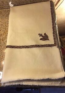 """White Wool EMBROIDERED Vintage Tablecloth/Coverlet 102"""" L X 48"""" W"""