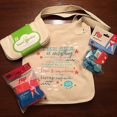 Cloth Diapers New Bumgenius Goodie Bag Lot W/ Cloth Wipes Jules & Sassy Flip Cloth Diapers