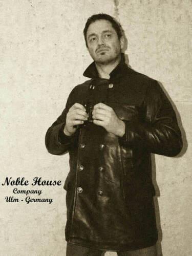Herren Mantel Stierleder Schwarz boot Lederjacke Noble U House WvPqfn6H