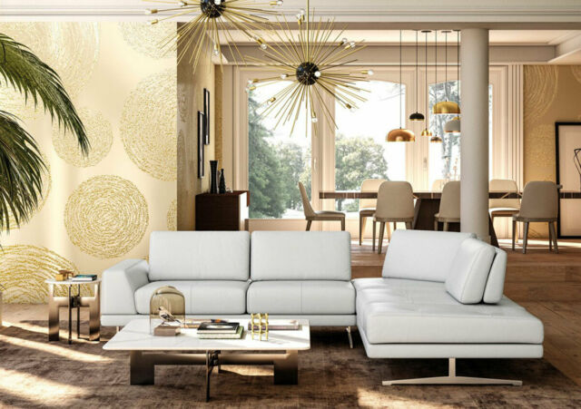 New Modern Living Room White Italian Full Leather Sectional Sofa Couch Set Rwz