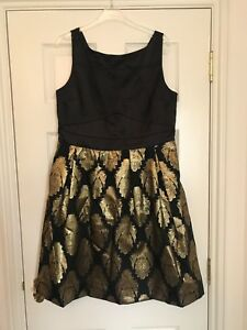 4891f4297a6e Oasis Black & Gold Dress - Christmas/Party/Wedding/Races - Size 16 ...