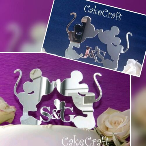 Mickey /& Minnie Disney Acrylique initiales mariage//Fiançailles Cake Topper Décorations