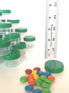36 *1/2 oz Clear Plastic Jars GREEN CAPS 1 TBLSP Containers #K3803 DecoJars usa
