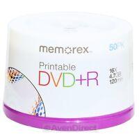 200 Memorex 16x White Inkjet Printable Dvd+r Plus R Expedited Priority Mail