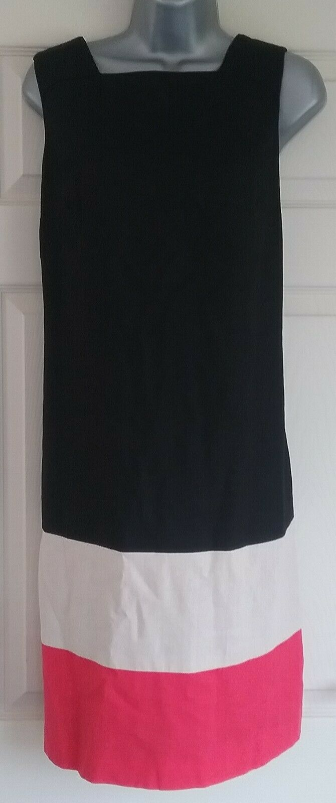 Colourblock black/beige/red Linen blend Shift Dress, Size 14, Smart Work