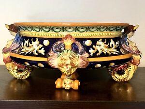 Egisto-Fantechi-Majolica-Centrepiece-Hand-Painted-Bowl-Renaissance-Revival-Italy
