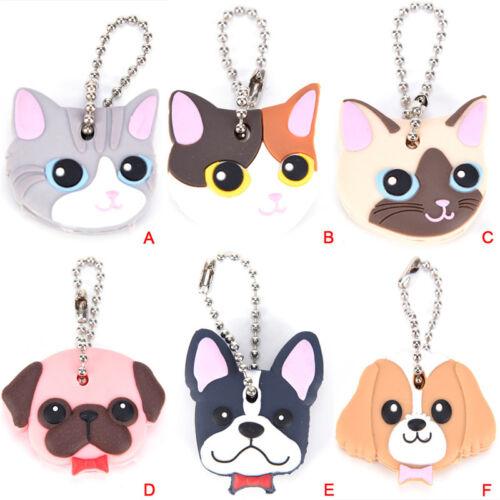 Silicone Puppy Pug Cat Rabbit Key Cover Cap Keychain Key Ring PVC Key CaseSw