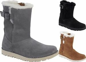 Details about BIRKENSTOCK SHOES WESTFORD BLACK GREY NUT BOOTS WOMEN SUEDE FUR ANKLE SHEARLING