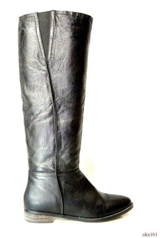 New STEVE MADDEN 'Colaterl' black leather TALL FLAT BOOTS 6.5 - very comfortable