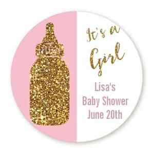 it s a girl gold glitter bottle round personalized baby shower