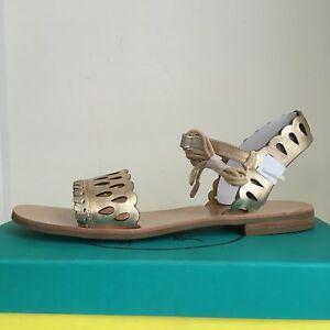 Jack-Rogers-sz-9-5-M-Ruby-Sandals-Metallic-Ankle-Tie-Wrap-Women-039-s-Leather-NEW