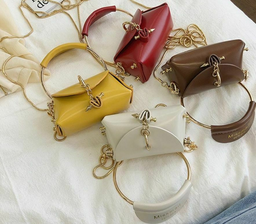 Mini Heart Chain Women Handbags Purse Round Top-handle Bag Small Shoulder
