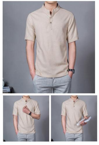 Men Chinese Casual Retro Mandarin Collar Linen Button Neck Shirt T-Shirt Top New